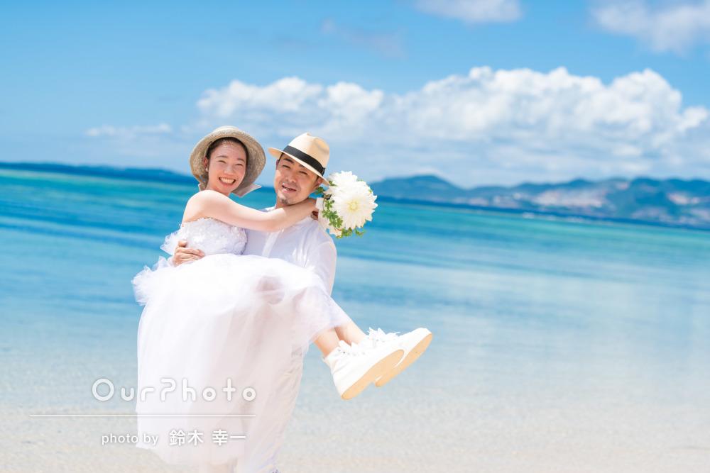ビーチで楽しく結婚式前撮り