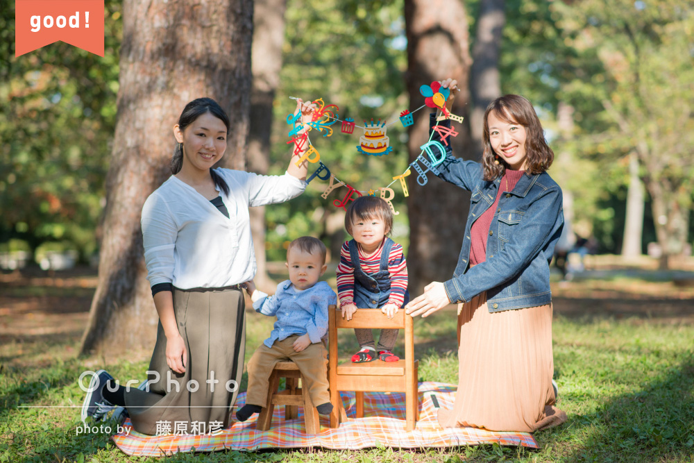 フォトギャラリー ママ友とお互いのお子さんの1歳を祝って、バースデーフォトの撮影