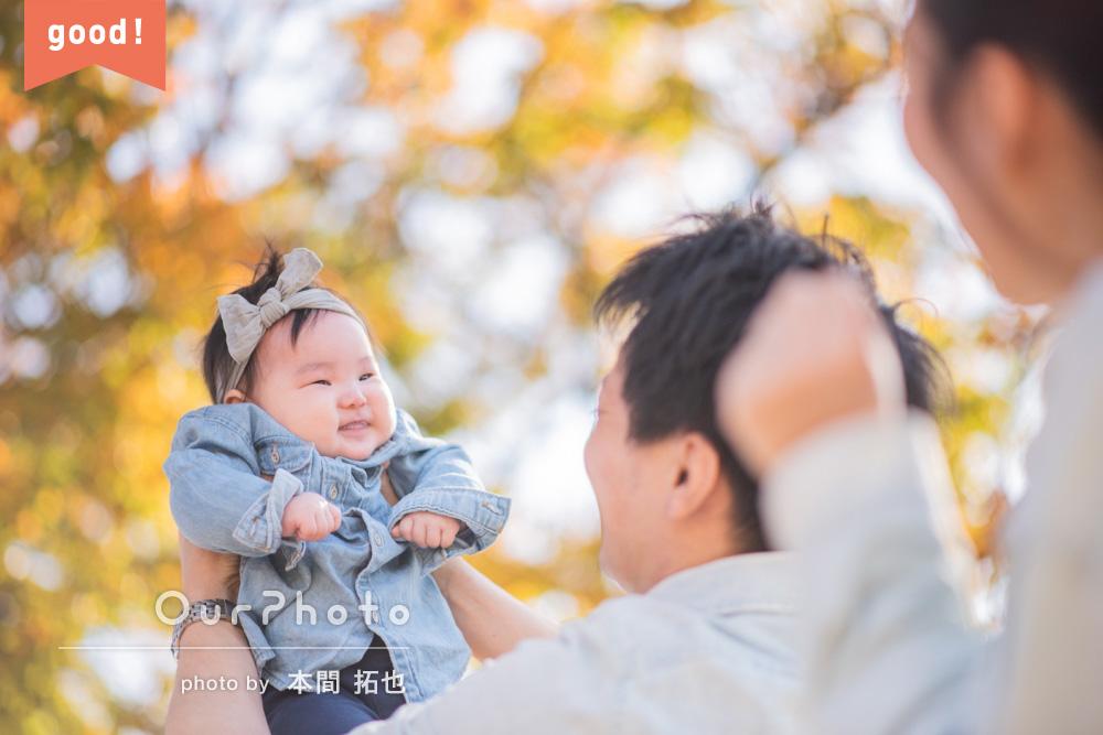 フォトギャラリー 4ヶ月の娘さんと!初めての年賀状用の家族写真を撮影
