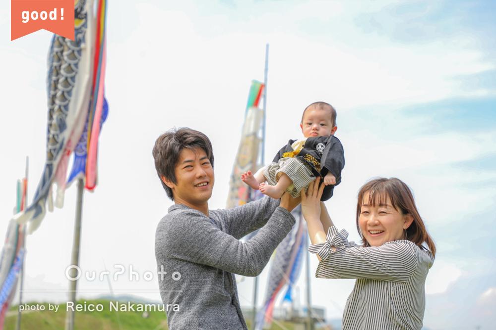 フォトギャラリー「爽やかな5月の風を感じるような雰囲気」初節句に家族写真の撮影