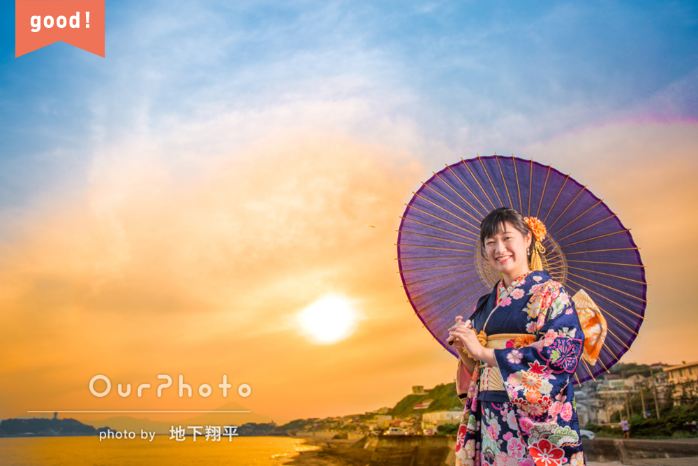 フォトギャラリー 夕日が美しいビーチや色鮮やかな神社で成人記念のロケーションフォト