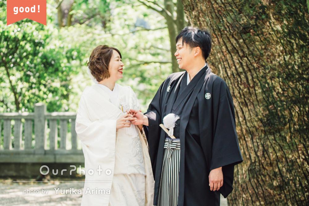 フォトギャラリー 二人の未来を照らす光に包まれて…神前式による結婚式の撮影
