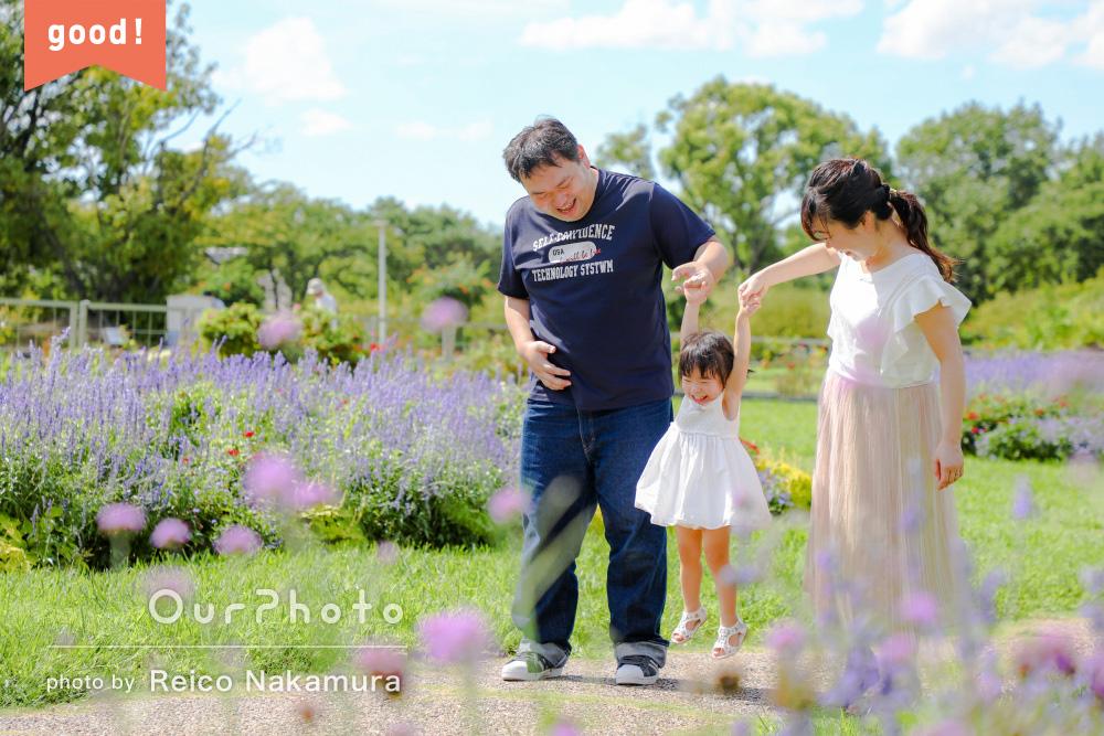 フォトギャラリー「季節の花いっぱいの公園で!2歳のバースデー記念写真の撮影」