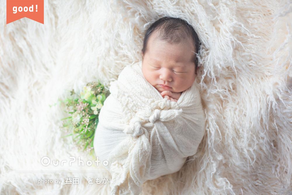 フォトギャラリー「ママの愛とおくるみに包まれて!ニューボーンフォトの撮影」