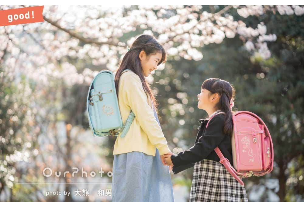 フォトギャラリー「「時間の許す限り沢山のアングルで」桜の下で可愛い姉妹の家族写真の撮影