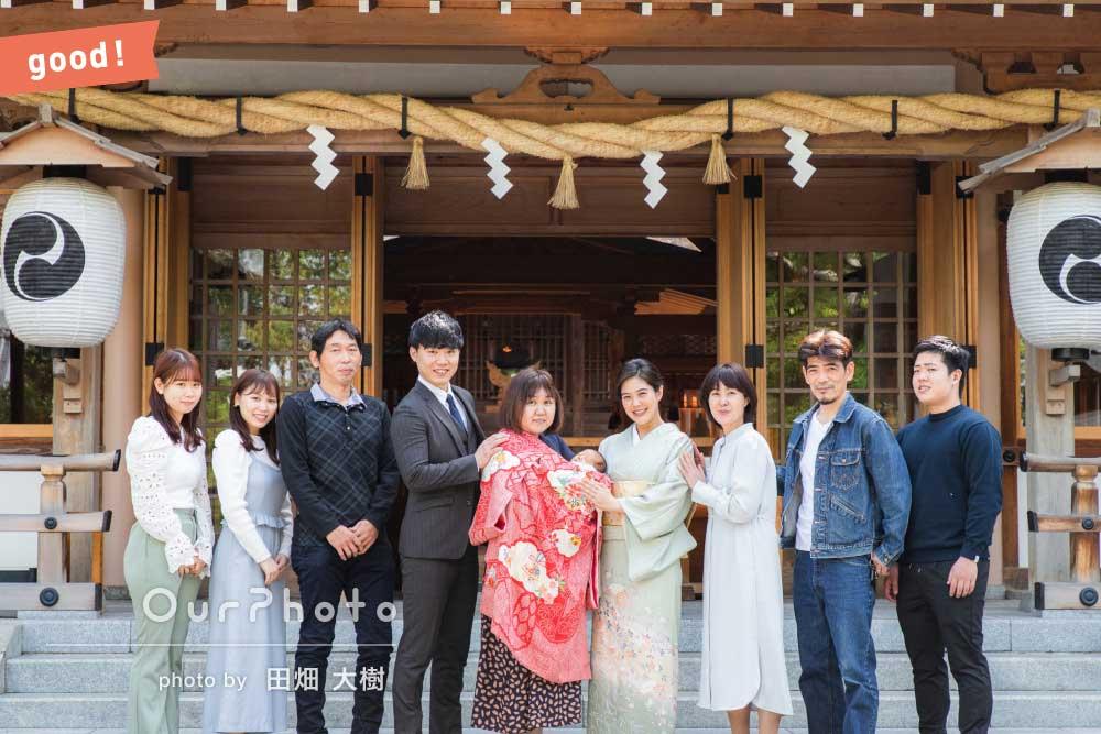 フォトギャラリー「「楽しく撮影ができました」神社に両家親族揃って大人数でお宮参りの撮影」の撮影