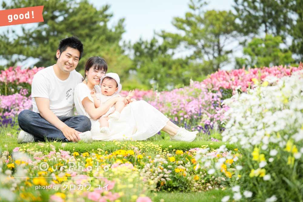 フォトギャラリー「キレイな花がたくさんのロケーションでのんびり楽しむ家族写真の撮影」の撮影