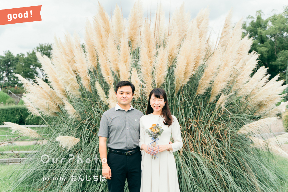 フォトギャラリー「とても雰囲気のいい素敵な写真」公園で結婚式用のカップルフォトの撮影