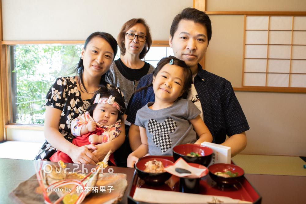 日本庭園がきれいな料亭でお祝い!お食い初めの撮影
