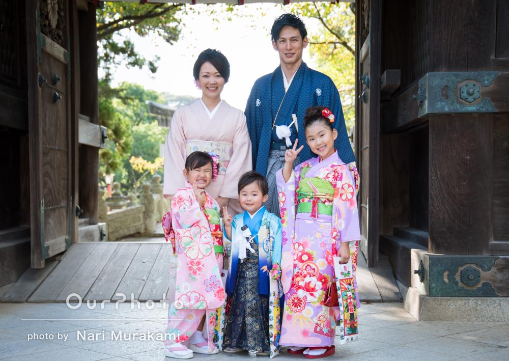 「臨機応変に対応」で感謝!家族全員で和服の晴れ着で七五三の撮影