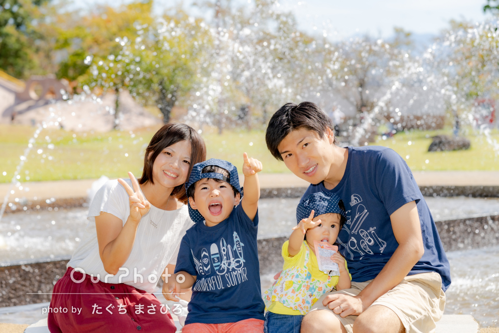 「子どもたちの素顔を色々な角度から熱心に」仲良し家族写真の撮影