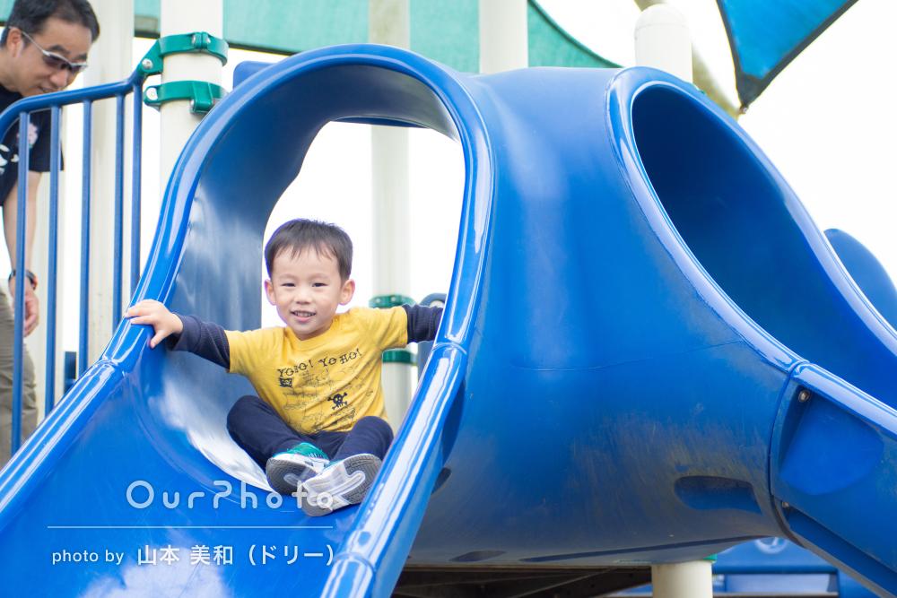公園で楽しく遊んだよ!笑顔がきらきらと輝く家族写真の撮影
