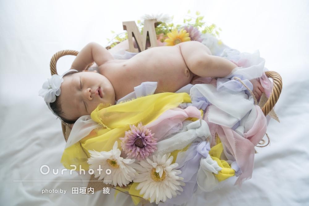 ご自宅で!お子様の誕生を祝ってのニューボーンフォトと、1歳のお誕生日記念の家族写真撮影