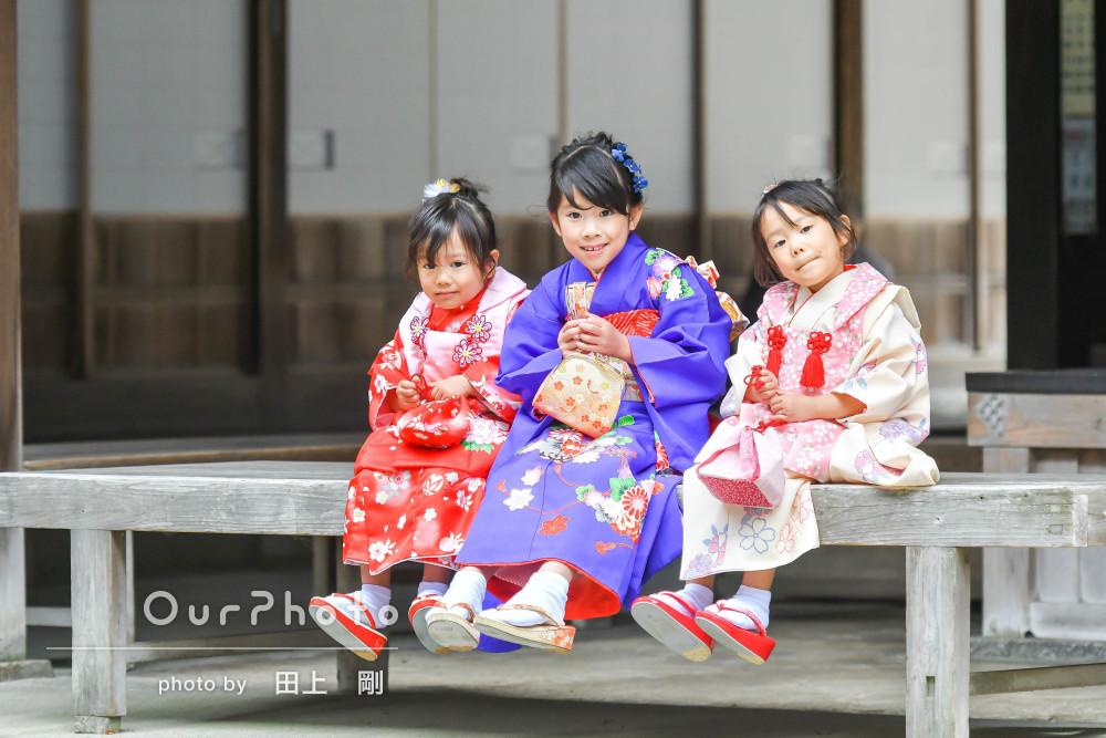 「色鮮やかで素敵な写真達」とっても可憐な三姉妹の七五三撮影