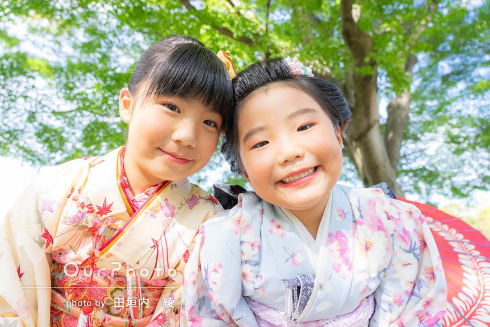 「人見知りの我が子も自然な表情」姉妹で着物姿の七五三の撮影