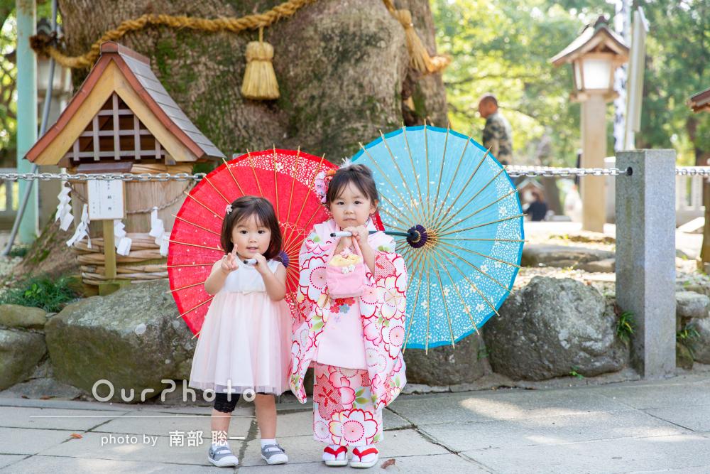 姉妹の笑顔に癒される!幸せな温もりのある七五三の写真撮影