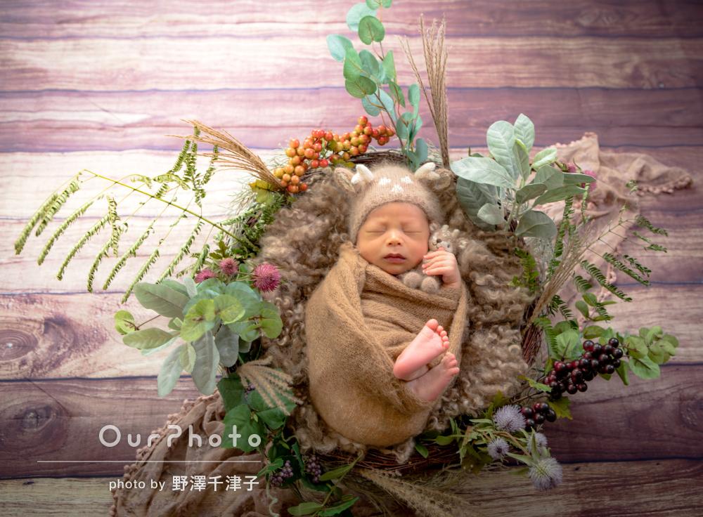 ファブリック類や造花などの小物を駆使して!ニューボーンフォトの撮影