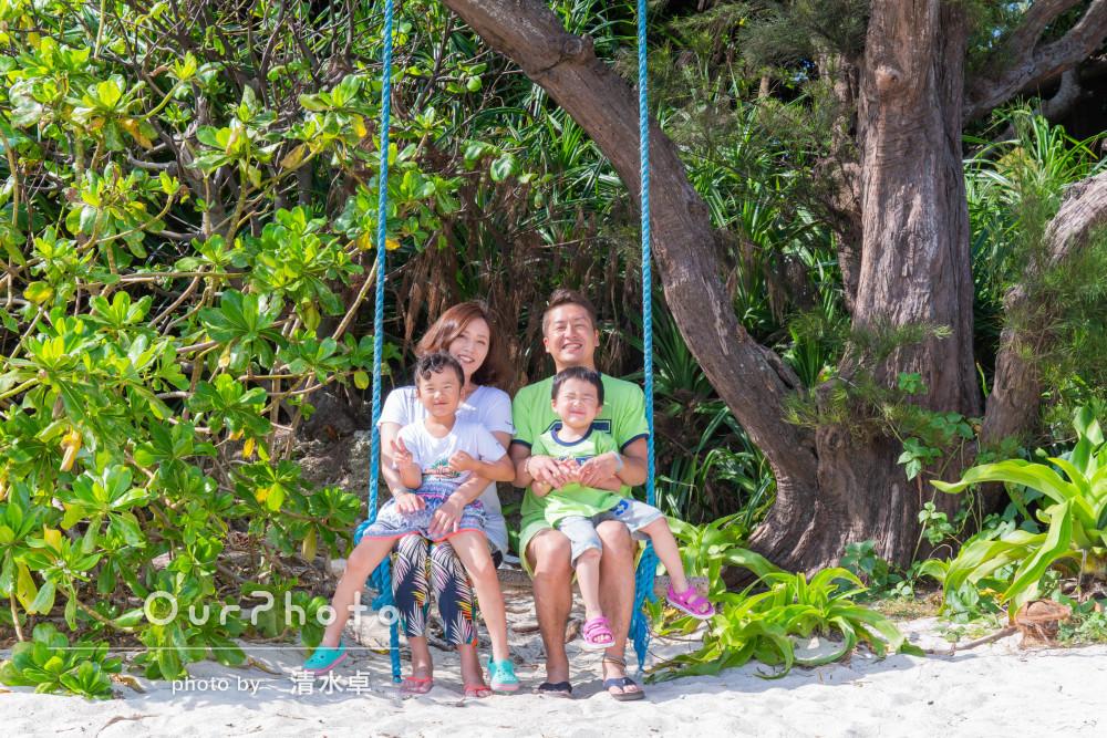 「申し込みから当日まで安心してお任せ」空と海が美しい沖縄での家族写真