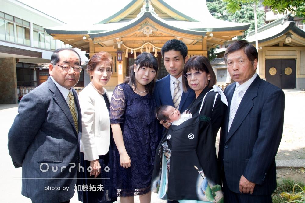 「家族の自然な笑顔を上手に撮って頂きありがとうございました。 妻も両親も非常に喜んでおります。」お宮参りの撮影
