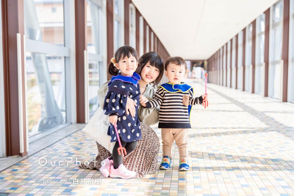 「緊張せず楽しく」色んなスポットで遊びながら家族写真の撮影
