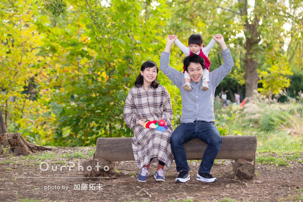 「いつもと変わらぬ様子でのびのびと」色づく公園で年賀状用の家族写真
