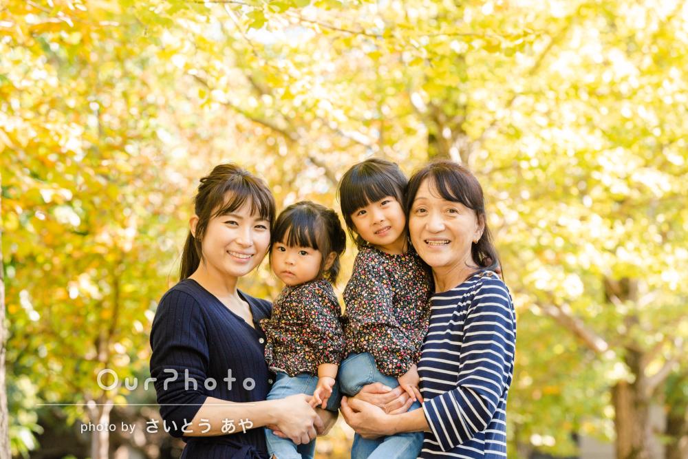 金色に輝くいちょう並木で秋を感じよう!仲良し姉妹の公園遊び撮影