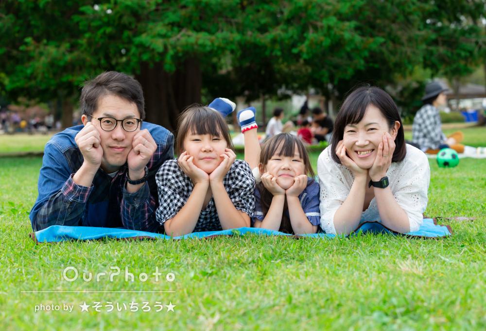 「子供達もグズる事なくあっという間に終わった」公園で家族写真の撮影