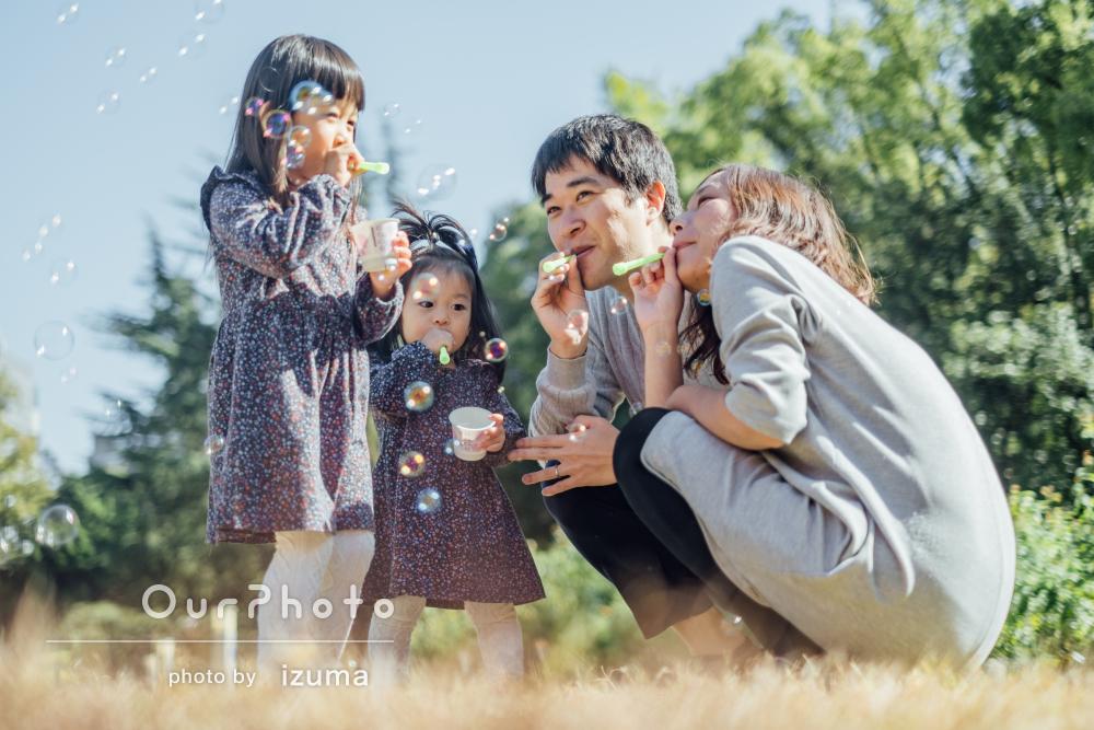「上手に撮って頂き感激」姉妹おそろいワンピースで1歳記念に家族写真