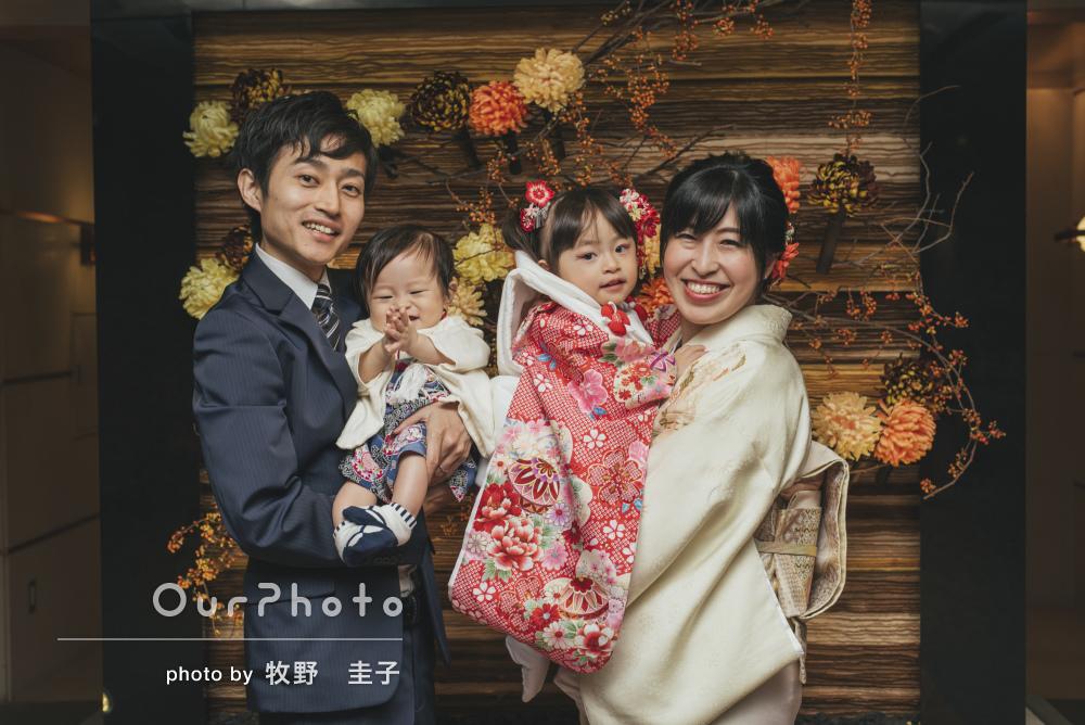 雨でも笑顔はピカピカ!家族みんなで迎える3歳の七五三の撮影