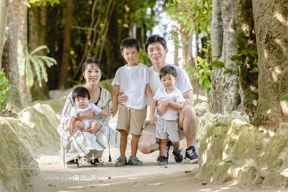 「期待以上の仕上がり」明るい森が舞台の沖縄家族旅行の撮影