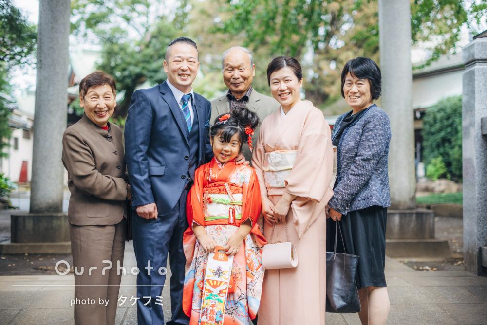 「祖父母との楽し気な家族写真まで撮って頂き」7歳の七五三詣りの撮影