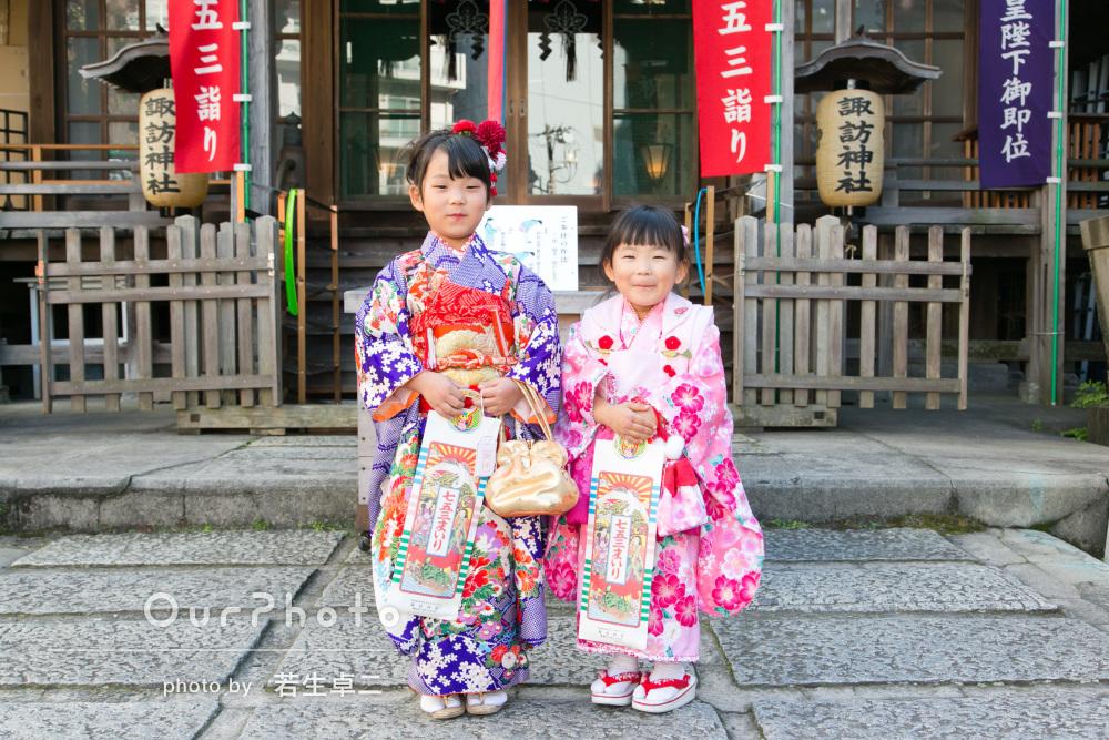 「可愛い笑顔で素敵なものばかり」7歳と3歳の七五三詣りの撮影