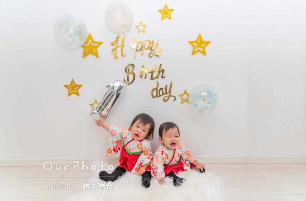 「子どもたちもすぐに慣れて」双子ちゃん1歳のバースデー記念撮影