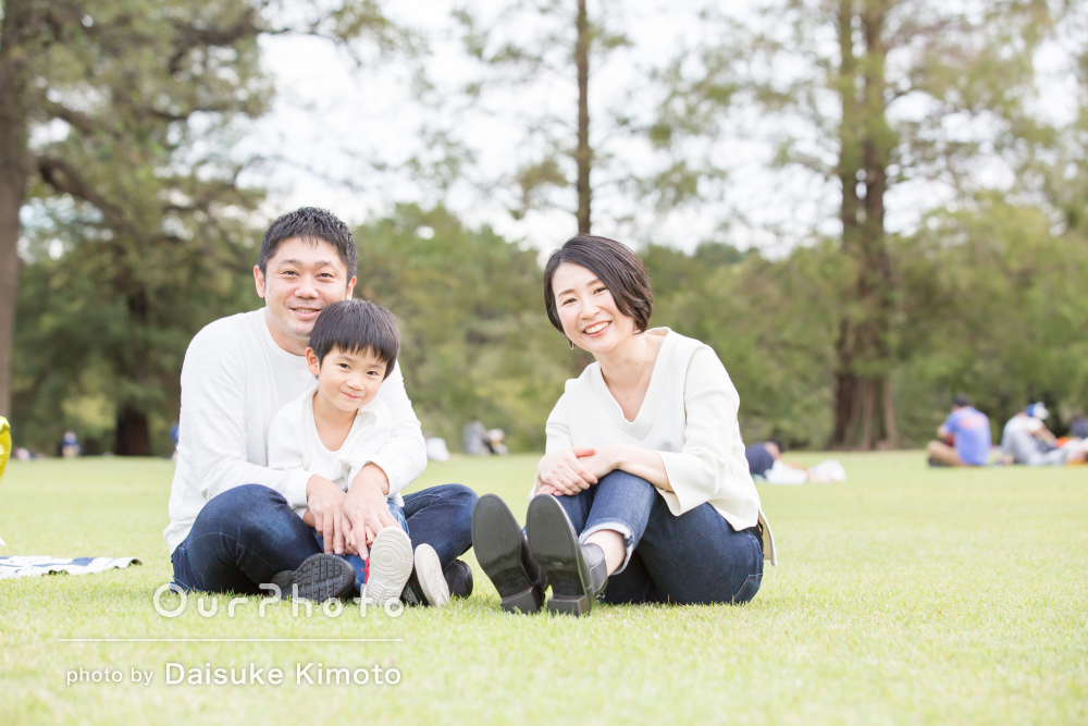 「普段通りの姿を撮影」お誕生日の記念に公園でご家族の撮影
