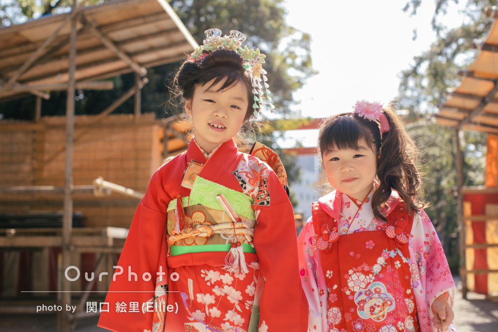 ふんわり♡かつ鮮やか!姉妹の7歳と3歳の七五三詣りの撮影