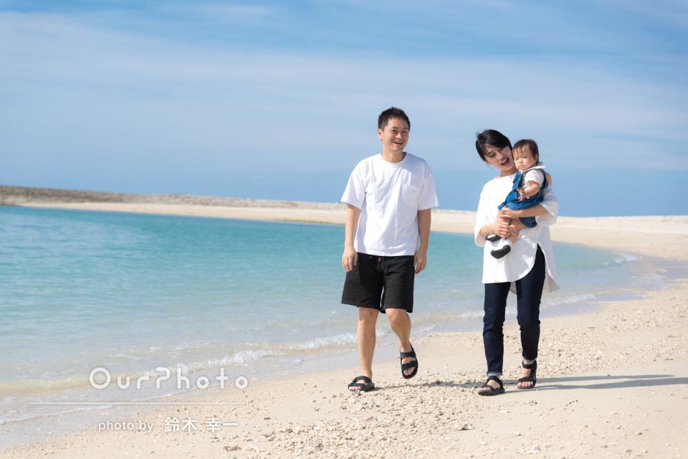 「笑顔があり大変満足です」爽快なビーチで家族写真の撮影