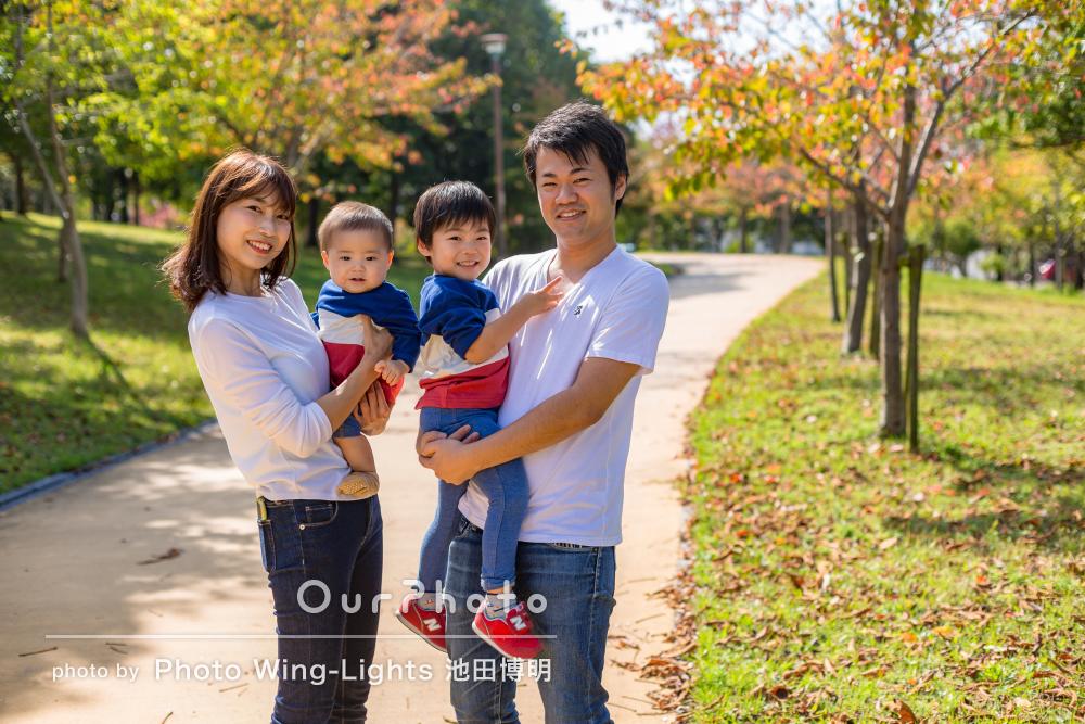 「色々なショットが撮られていてよかった」年賀状用の家族写真撮影