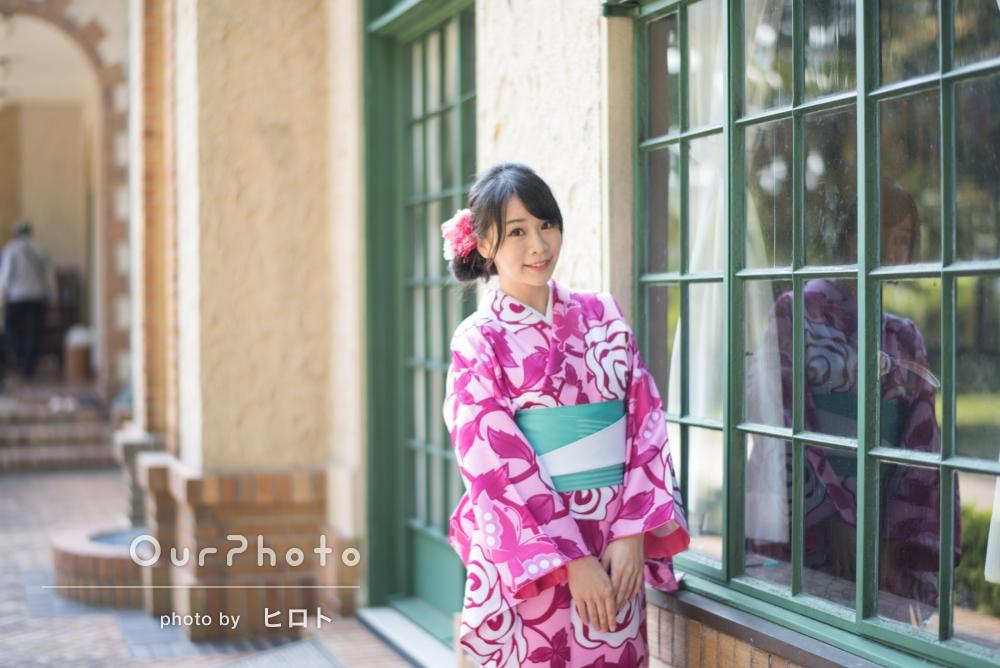 着物姿で撮影したいという外国からのお客様!ご友人2人で臨む、プロフィール写真の撮影