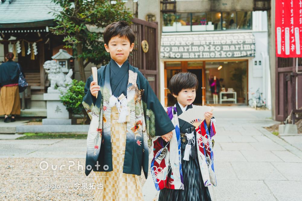 粋な羽織袴でビシッとキメて!おしゃれな兄弟の七五三詣りの撮影