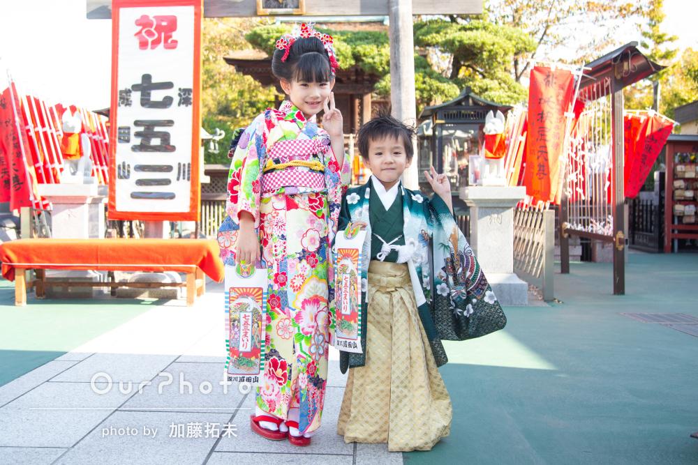 「素敵なお写真ばかり」仲良し姉弟の7歳と5歳の七五三詣りの撮影