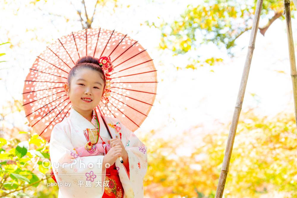 晴れ着姿で大人っぽく!紅葉色づく神社でにっこり七五三の撮影