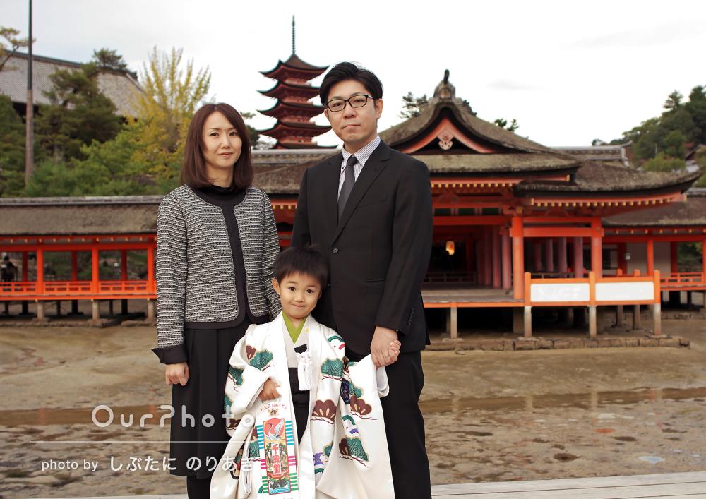 「リラックスしたムード」由緒ある神社でかっこよく!5歳七五三の撮影