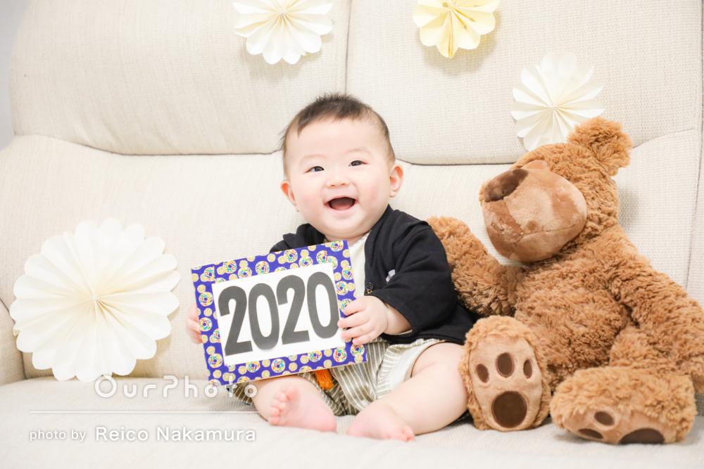 「とーってもいい思い出」ハーフバースデイに年賀状にも使える家族写真