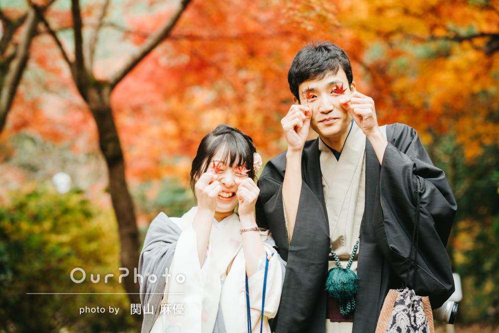 秋の京都を着物で散策「緊張せずに」カップルフォトの撮影