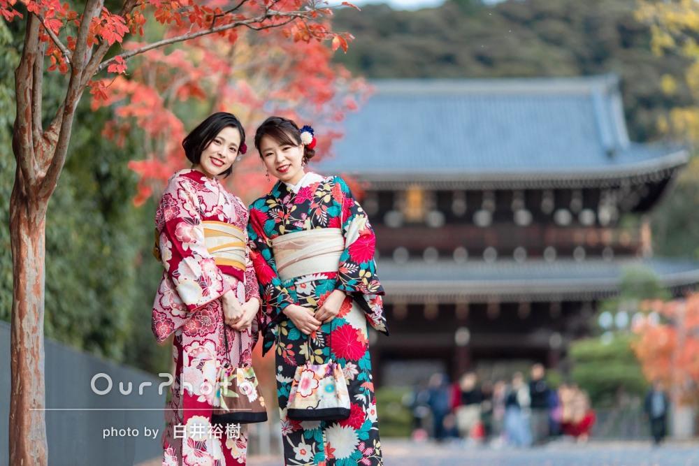 京都の町並みと紅葉が着物姿をより美しく魅せた友フォトの撮影
