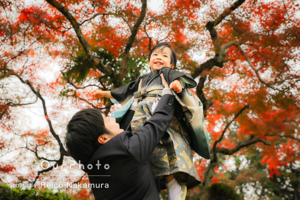 「息子も家族も楽しい時間でした!」紅葉が美しい七五三の撮影
