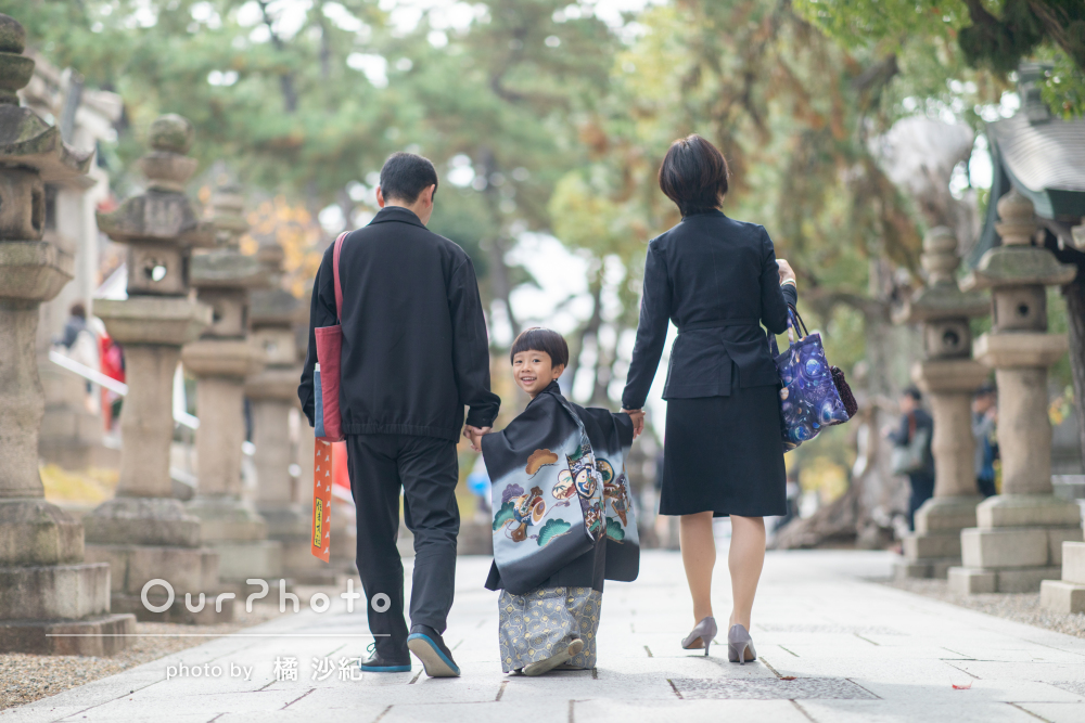 由緒ある神社の風情を感じながら!袴姿がかっこいい5歳の七五三の撮影