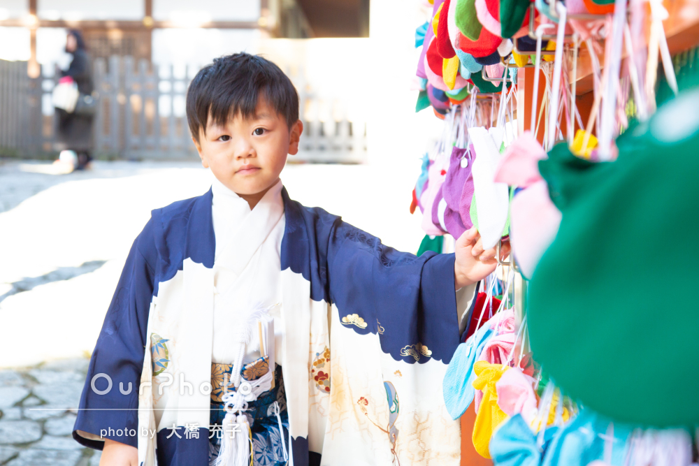 「息子の晴れの日にとても楽しい写真撮影」5歳の七五三の撮影