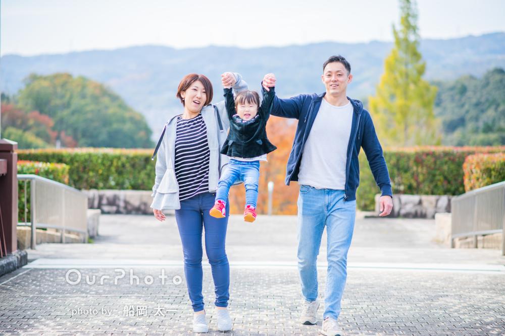 「散歩をしているような感覚で撮影」お誕生日記念の家族写真撮影