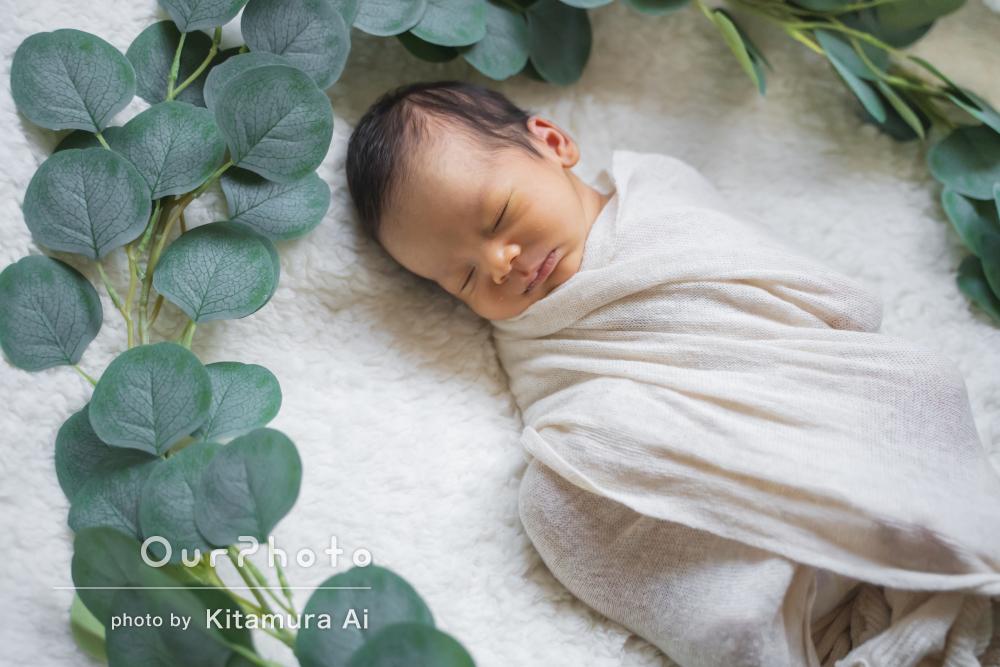 「優しい雰囲気の仕上がり」天使の寝顔のニューボーンフォトの撮影